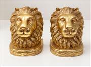 Sale 8703A - Lot 18 - A pair of gilt plaster lion form bookends, H x 14cm