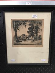 Sale 8720 - Lot 2096 - George Marler - The Hut etching, signed lower right