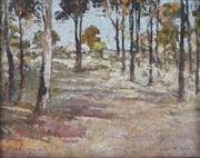 Sale 8838A - Lot 5075 - James Muir Auld (1879-1942) - Homestead Amongst The Trees, c1900 29.5 x 37cm