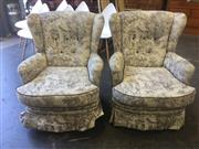 Sale 8868 - Lot 1515A - Pair of Wing Back Armchairs with Village Scene Upholstery