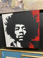 Sale 8888 - Lot 2071 - Artist Unknown Jimi Hendrix stencil and crylic on canvas, 62 x 61cm