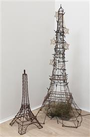Sale 8902H - Lot 26 - A metal work model of the Eiffel tower, Height 108cm together with a smaller example