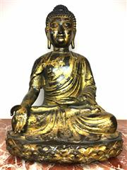 Sale 8995H - Lot 53 - A semi gilt bronze statue of a Thai Buddha, gilt work rubbed, in traditional pose height 60cm