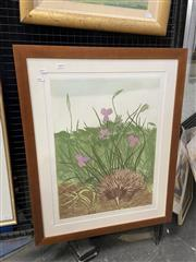 Sale 9028 - Lot 2006 - Pamela Griffith Sprint Anteater and the Mature Iris colour etching ed. 30/40 (frame: 83 x 67cm) -