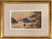 Sale 9058 - Lot 2034 - Artist Unknown (C19th) - On the Ganges 17 x 29.5 cm (frame: 38 x 51 x 2 cm)