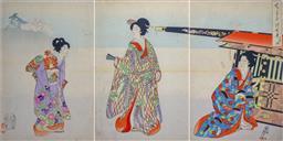 Sale 9143A - Lot 5028 - JAPANESE SCHOOL - Kabuki Scene (triptych) c1895 37 x 73 cm (frame: 49 x 85 x 2 cm)