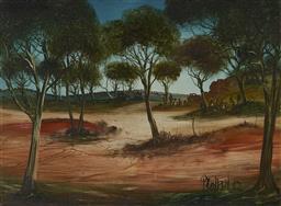 Sale 9161 - Lot 556 - KEVIN CHARLES (PRO) HART (1928 - 2006) - Bush Camp 43.5 x 59.5 cm (frame: 58 x 74 x 2 cm)