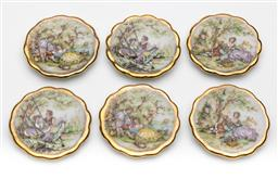 Sale 9245R - Lot 91 - A set of 6 French Limoges porcelain miniature plates, Monarch Porcelain dArt, mid 1900s, decorated with various Fragonard scenes o...