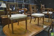 Sale 8390 - Lot 1004 - Set of Eight Edwardian Oak Dining Chairs, incl. two armchairs, with square legs stamped with numbers (need upholstery)