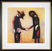 Sale 8449A - Lot 546 - Charles Blackman (1928 - ) - The Meeting 65 x 67cm