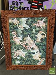 Sale 8449 - Lot 2063 - Iny Gedut - Cranes, acrylic on canvas, frame size: 83 x 66cm, signed lower left & Thai Mythological Scene, gouache on canvas on bo...