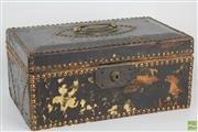 Sale 8555 - Lot 97 - Leather Antique English Riveted Money Box