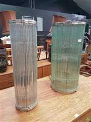 Sale 8593 - Lot 1035 - Graduated Glass Tube Table Lamps