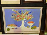 Sale 8627 - Lot 2040 - Artist Unknown - Still Life - Fruit and Flowers, oil on canvas laid on board, 58.5 X 79.5cm, signed Poldi lower right