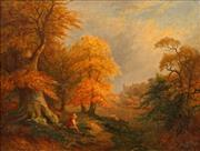 Sale 8665A - Lot 5094 - J S Morris (C19th) - Autumn near Arundel Castle, 1861 70 x 90cm