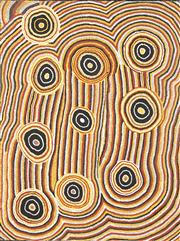 Sale 8743 - Lot 504 - Charlie Tjupurrula (1923 - ?) - Witjirrki Rockhole, 1991 100 x 75cm (stretched and ready to hang)