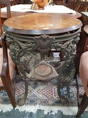 Sale 8868 - Lot 1004 - Cast Iron Pub Table, with round bevelled mahogany top (loose), the base modelled with Britannia & shields of History