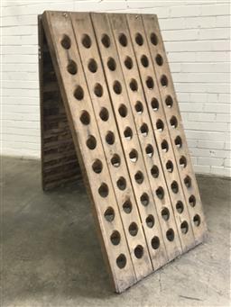 Sale 9097 - Lot 1085 - French Riddling Rack  for 60 Bottles (h:151 x w:71cm)