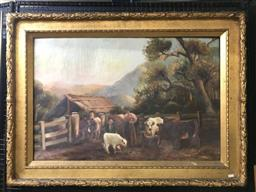 Sale 9106 - Lot 2024 - Artist Unknown (Early C20th) Farmyard oil on canvas (AF) 83 x 114cm (frame) unsigned