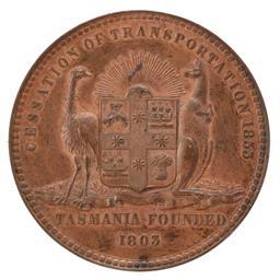 Sale 9130E - Lot 62 - A Victorian cessation of transportation medal dated 1853, Diameter 5.8cm
