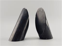 Sale 9134 - Lot 1061 - Vintage pair of brutalist monolith Stone bookends (h:18cm)