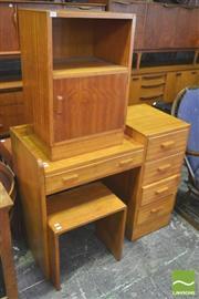 Sale 8310 - Lot 1062 - Vintage Maple Desk with Matching Stool & Locker