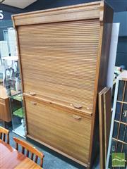 Sale 8421 - Lot 1084 - A Johann & Heissmann Tambour Front Office Cabinet (key in office)