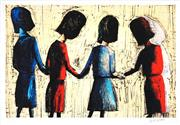 Sale 8459 - Lot 547 - Charles Blackman (1928 - ) - Four Schoolgirls 66 x 99.5cm (frame size: 90 x 122cm)