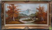 Sale 8595 - Lot 2069 - Artist Unknown - Alpine Lake Scene - Oil on Board, signed Millet, 60x121cm