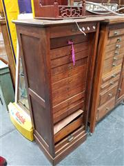 Sale 8688 - Lot 1075 - Maple Tambour Front File Cabinet