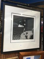 Sale 8720 - Lot 2066 - Tetsuya Mori - Night Life woodcut, ed. 1/1 signed lower right