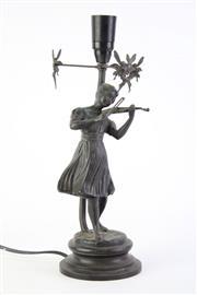 Sale 8827D - Lot 13 - Bronze Art Deco Lady Playing Violin Lamp  H:35cm