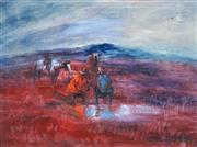 Sale 8916 - Lot 529 - Hugh Sawrey (1919 - 1999) - Stockmen by a Waterhole 29 x 39 cm