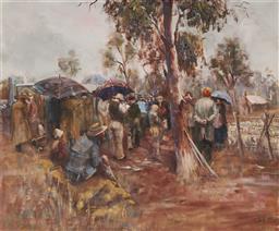 Sale 9096A - Lot 5027 - Robyn Gosbell (1943 - ) - Stock Auction, 1980 59.5 x 74.5 cm (frame: 77 x 92 x 3 cm)