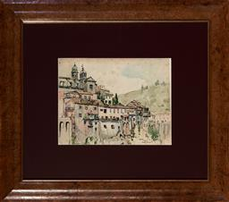 Sale 9113 - Lot 2039 - Gladys Mary Owen (1889 - 1960) Town of Nemi, Near Rome, 1957 watercolour 22.5 x 29.5 cm (frame: 54 x 61 x 3 cm) signed and dated low...