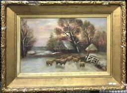 Sale 9106 - Lot 2025 - Artist Unknown (Early C20th) Sheep in a Snowy Paddock oil on canvas 70 x 95cm (frame AF) signed