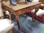 Sale 8428 - Lot 1034 - 19th Century Continental Burr Walnut Side Table, with single drawer & leaf capped cabriole legs