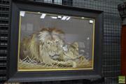 Sale 8460 - Lot 1076 - Meiji Japanese Silk Stitch of a Lion & Lioness Resting, in an oak frame