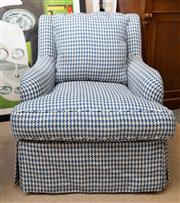 Sale 8709 - Lot 1008 - A Blainey North blue and white houndstooth upholstered button back armchair with matching cushion, Height of back 84cm, W x 71cm