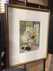 Sale 8767 - Lot 2070 - Helen Goldsmith - Interior Scene watercolour, 69.5 x 59cm, signed lower right -