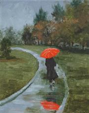 Sale 8895 - Lot 2025 - Ian Webb (1943 - ) - The Red Umbrella 24 x 18.5cm