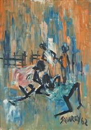 Sale 8938 - Lot 534 - Hugh Sawrey (1919 - 1999) - Untitled, 1962 (Figures in Stockyard) 50.5 x 35.5 cm