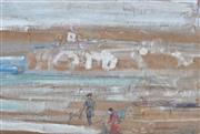 Sale 8947 - Lot 555 - Charles Conder (1868 - 1909) - Figures On Beach, c1890-1900 25 x 38 cm (frame: 48 x 59 x 3 cm)