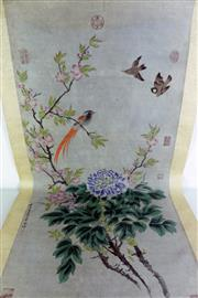 Sale 8968 - Lot 78 - Birds and floral themed Chinese scroll