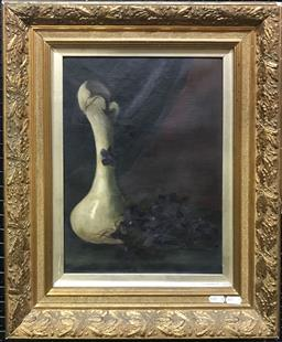 Sale 9106 - Lot 2018 - Artist Unknown (Early 20th) Midnight Still Life - Vase and Flowers oil on canvas 54 x 44cm (frame) unsigned
