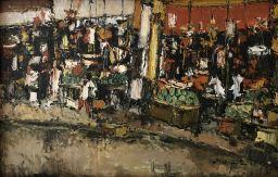 Sale 9150J - Lot 72 - INDONESIAN SCHOOL The markets oil on board 38x59cm Circa 1960s, Indistinctly signed