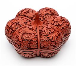 Sale 9245R - Lot 94 - A cinnabar laquer lidded bowl in the form of a pumpkin, C: 1930s, each of the 6 lobes profusely decorated with leaves, flowers and ...
