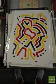 Sale 8461A - Lot 2092 - Jack Vigor (Street Artist, CASPER) (3 works) - Untitled (Black, Red, Yellow) 42.5 x 30cm, each