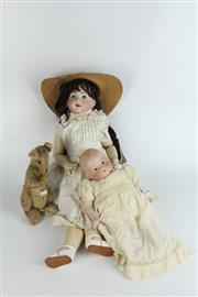 Sale 8405 - Lot 27 - Bisque Head Dolls & Vintage Kangaroo