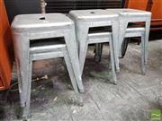Sale 8493 - Lot 1091 - Set of 6 Original Thornet Metal Stools